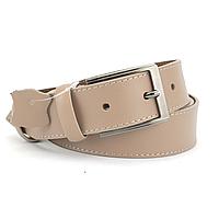 Ремень кожаный женский с квадратной пряжкой бежевый PS-3552 (125 см)