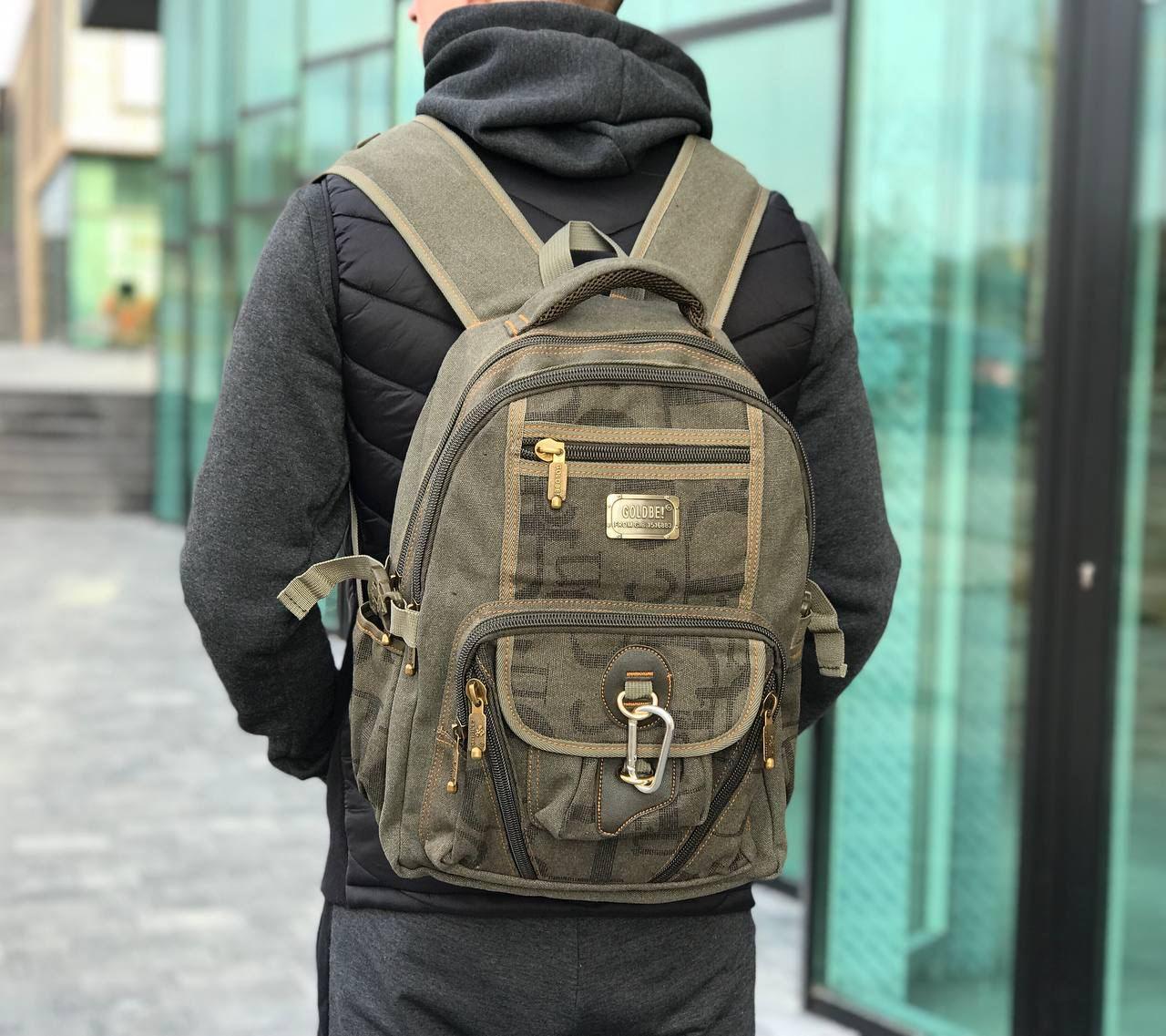 Рюкзак спортивный Gold Be брезентовый цвет хаки. Вместительный рюкзак цвета хаки.