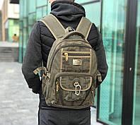 Рюкзак спортивный Gold Be брезентовый цвет хаки. Вместительный рюкзак цвета хаки., фото 1