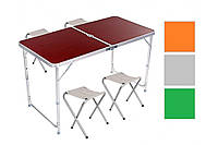 Стол для пикника усиленный с 4 стульями Folding Table 120х60х55/60/70 (светлое дерево), фото 1