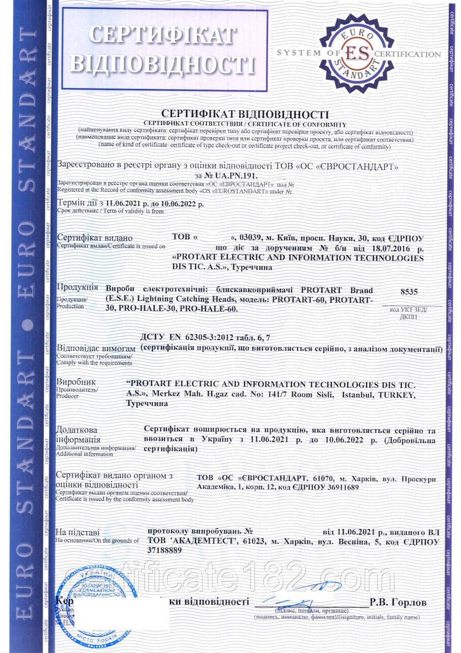 Сертификат соответствия на оборудование