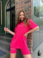 Жіночий костюм з велосипедками 01 (42-46; 48-50) кольори: малина, блакитний, бежевий, бузковий, рожевий) СП, фото 1
