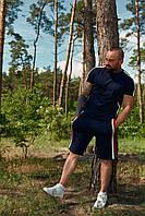 Костюм летний спортивный WOW Charged Cotton Мужской хлопковый футболка шорты Темно-синий (Размер S)