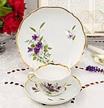 Німецька чайна трійка, порцелянова чашка, блюдце й десертна тарілка, Triptis Porzellan, Німеччина, фото 2