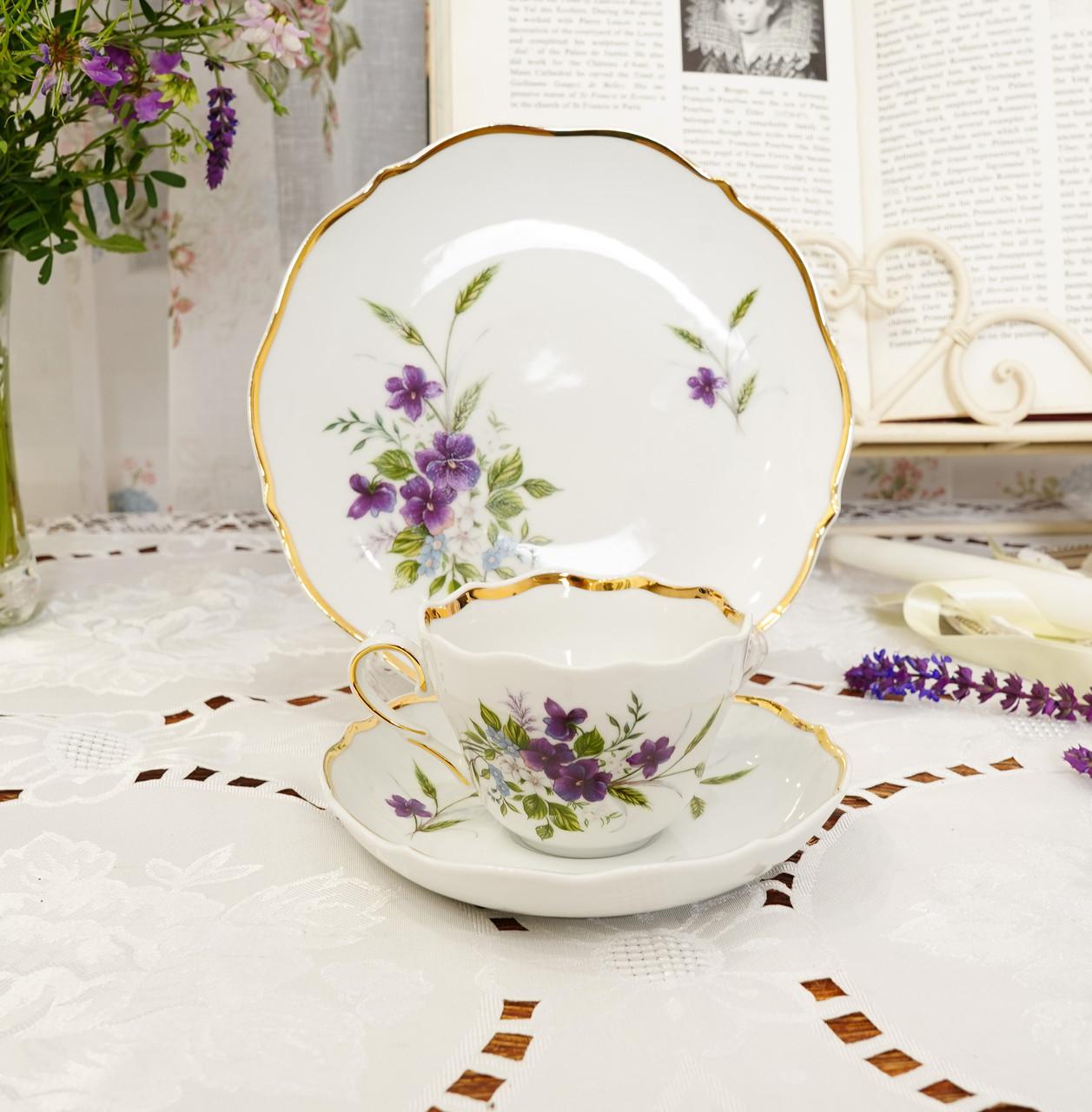 Німецька чайна трійка, порцелянова чашка, блюдце й десертна тарілка, Triptis Porzellan, Німеччина