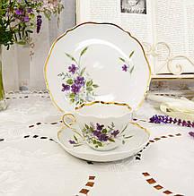 Немецкая чайная тройка, фарфоровая чашка, блюдце и десертная тарелка, Triptis Porzellan, Германия