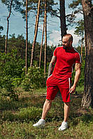 Костюм летний спортивный WOW Charged Cotton Мужской хлопковый футболка шорты Красный (Размер S)