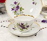 Німецька чайна трійка, порцелянова чашка, блюдце й десертна тарілка, Triptis Porzellan, Німеччина, фото 3