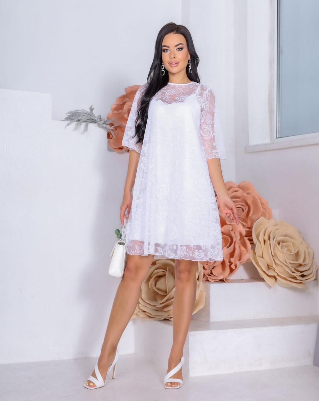 Женственное красивое платье длиною до середины бедра, на подкладке плюс сетка с напылением флок, 00863