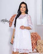 Женственное красивое платье длиною до середины бедра, на подкладке плюс сетка с напылением флок, 00863, фото 2