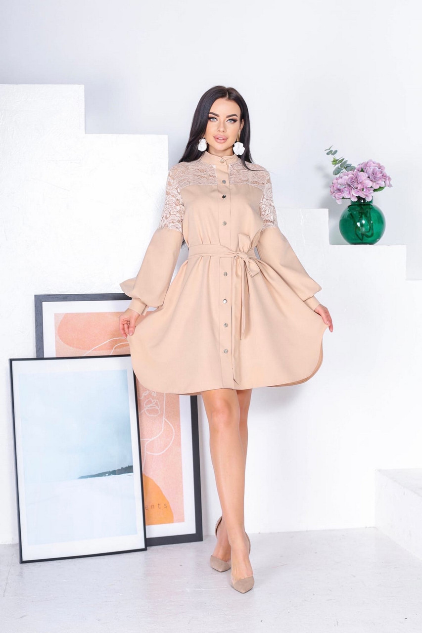 Женское нежное платье на подкладке из супер софт, и сетка с бархатным напылением флок, 00864 (Персиковый),