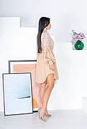 Женское нежное платье на подкладке из супер софт, и сетка с бархатным напылением флок, 00864 (Персиковый),, фото 3
