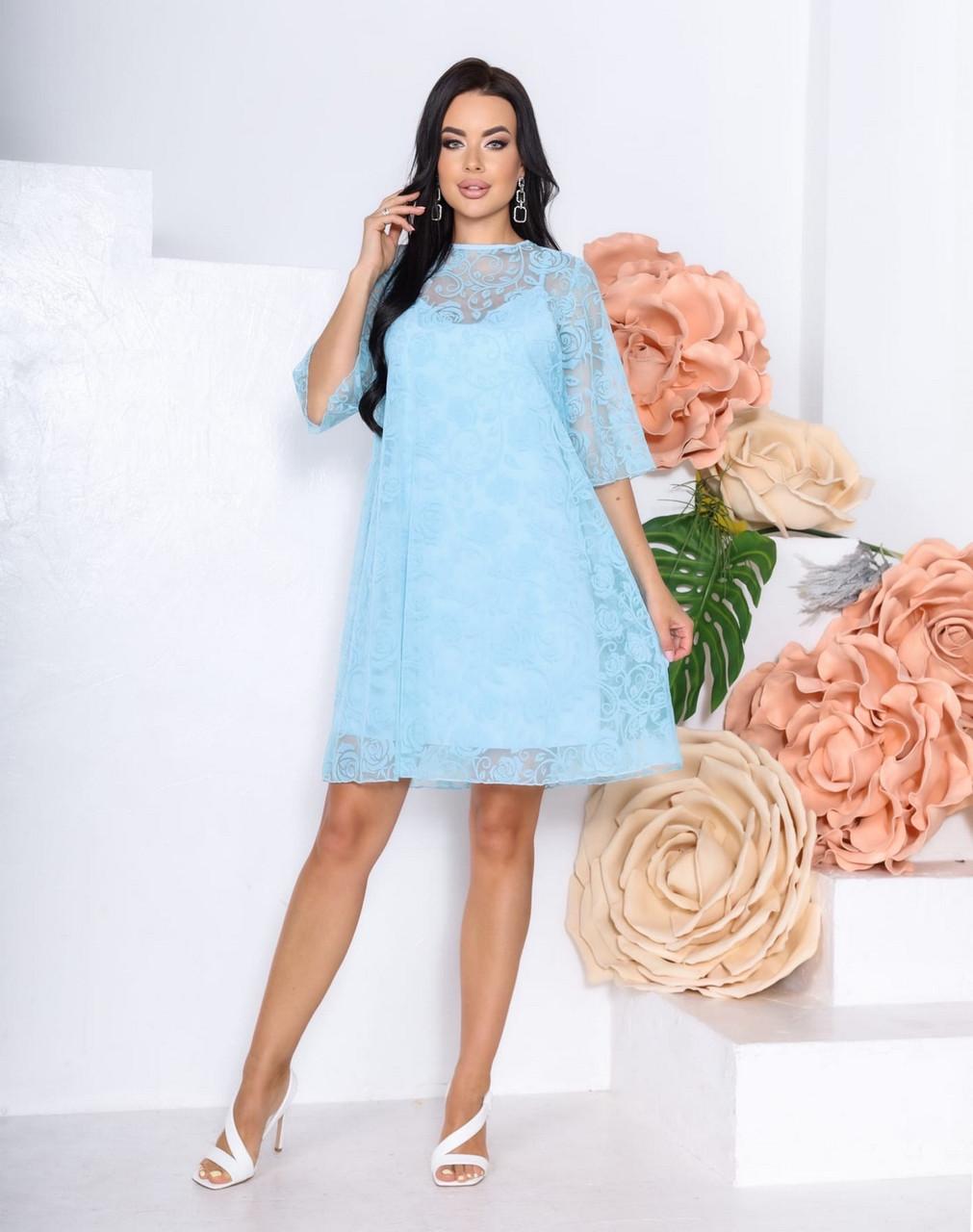 Сукня жіноча на підкладці з сіткою з оксамитовим напиленням, софт, 00865 (Блакитний), Розмір 52 (XXXL)