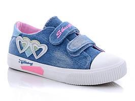 Детские кеды для девочки Сердечки джинсовые 35 Синий 487502, КОД: 1724448