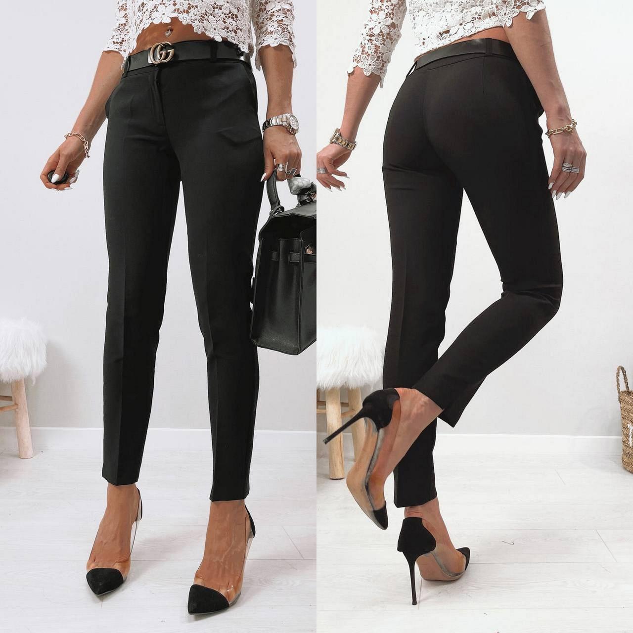 Стильні жіночі штани з двома скошеними кишенями з боків, 00870 (Чорний), Розмір 44 (M)