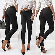 Стильні жіночі штани з двома скошеними кишенями з боків, 00870 (Чорний), Розмір 44 (M), фото 2