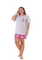 Пижама женская комплект-двойка (шорты + футболка) ASMA 10139 Батал