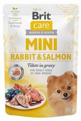 Brit Care (Брит Кеа) Dog Mini Rabbit & Salmon Вологий корм для дрібних порід собак Філе кролика і лосося в, фото 2