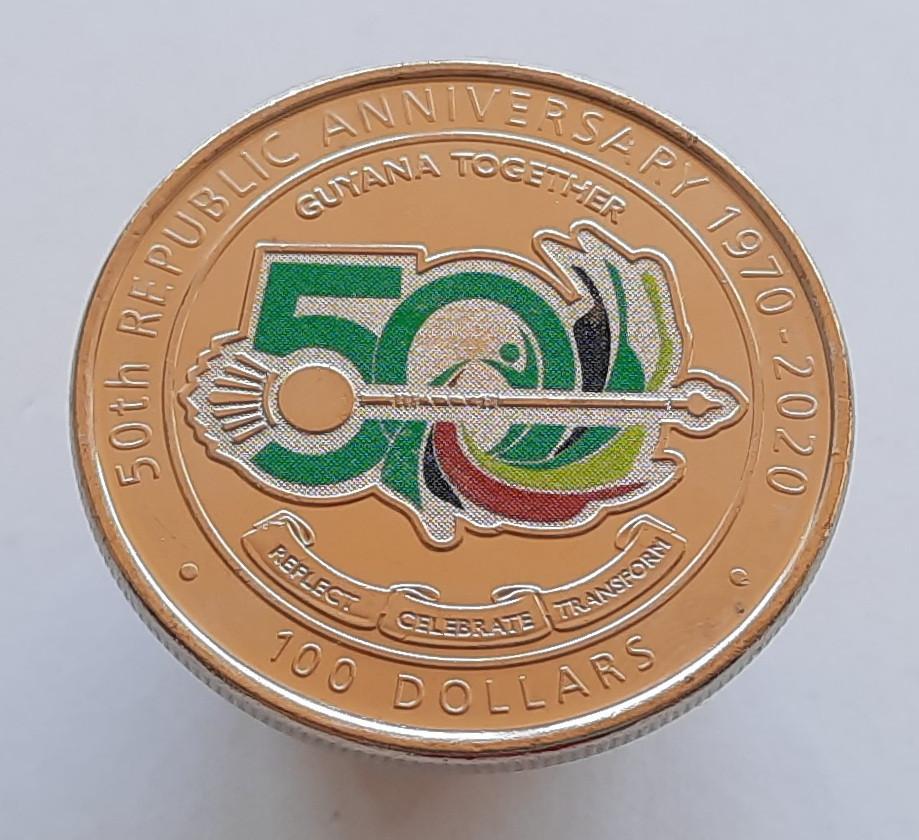 Гайана 100 доларів 2020 - 50 років Кооперативній Республіці Гайана Кольорова емаль