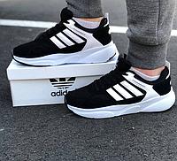 Мужские кроссовки Adidas Black White / Обувь Адидас черные новинка весенне летние сетка повседневные легкие