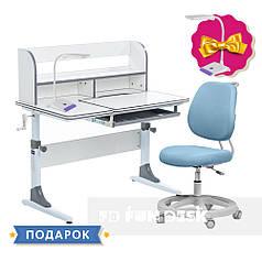 Комплект растущая парта для школьников Cubby Nerine Grey + кресло FunDesk Pratico Blue