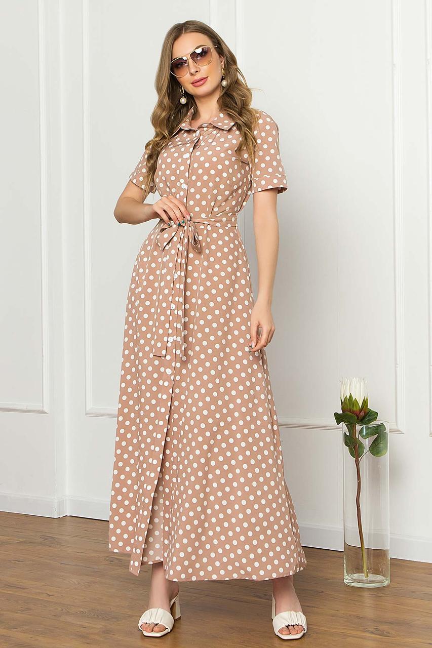 Сукня-сорочка з софта літнє плаття-сорочка максі з коротким рукавом, бежеве в горошок