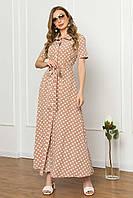 Сукня-сорочка з софта літнє плаття-сорочка максі з коротким рукавом, бежеве в горошок, фото 1