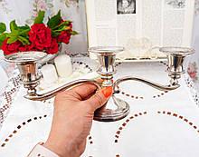 Посеребренный подсвечник на три свечи, серебрение по латуни, винтаж, Англия