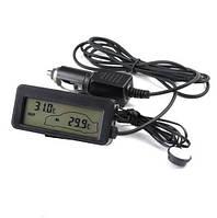Авто термометр 12-24V. Термометр в автомобиль с выносным датчиком. Измерение в салоне и за бортом. Т-18