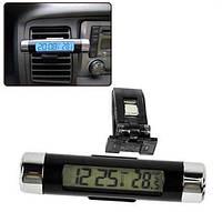 Авто термометр с часами в салон автомобиля цифровой. Синяя подсветка CT-204