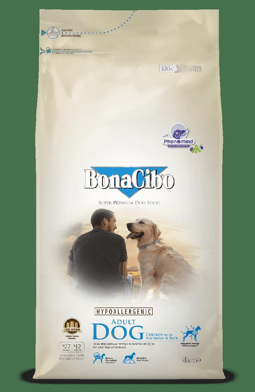 BonaCibo Adult Dog Chicken&Rice with Anchovy Сухий корм для дорослих собак всіх порід 4 кг