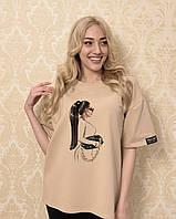 Модная футболка женская бежевая с рисунком F-01S L Хлопок
