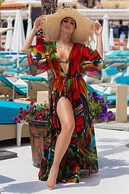 Длинная пляжная туника красная принт разводы с рукавом 3/4 Большого размера