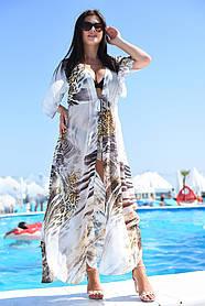 Длинная пляжная туника белая с принтом короткий рукав Большого размера