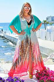 Длинная пляжная туника короткий рукав женская Большого размера
