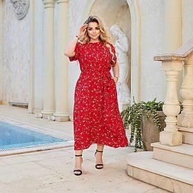 Летнее легкое платье большого размера Батал, Прогулочное летнее платье женское приталенное с коротким рукавом