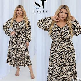 Летнее легкое длинное платье с рюшей большого размера Батал, Коктейльное летнее платье длинное Большого