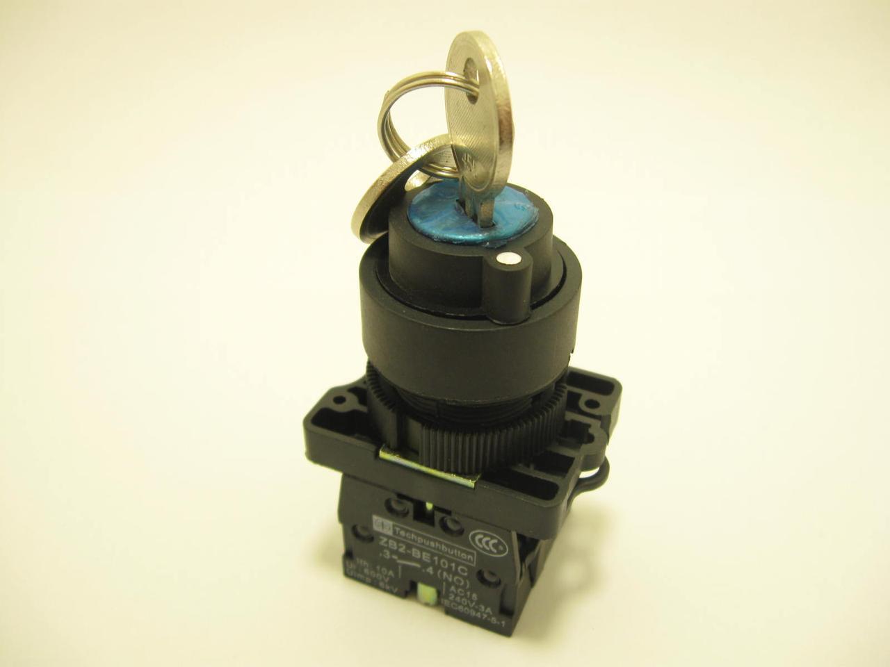 Поворотный переключатель XB2-BG33 3-позиционный с ключом