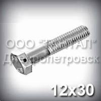 Болт М12х30 DIN 962 SK контровочный с отверстием в головке прочность 10.9 оцинкованный