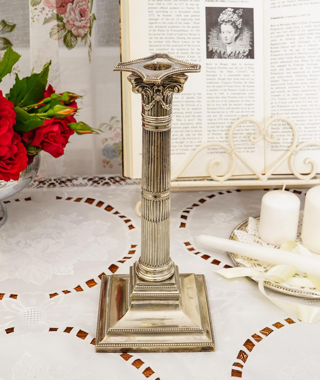Посріблений камінний свічник у стилі ампір, сріблення по латуні, вінтаж, Англія, H. R.& Co