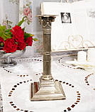 Посріблений камінний свічник у стилі ампір, сріблення по латуні, вінтаж, Англія, H. R.& Co, фото 3
