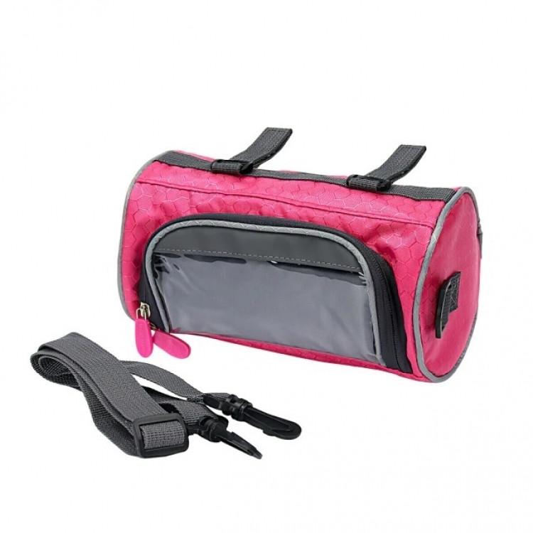 Водонепроникна велосипедна сумка з прозорим кишенею для телефону на кермо (рожевий)