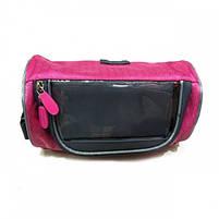 Водонепроникна велосипедна сумка з прозорим кишенею для телефону на кермо (рожевий), фото 2