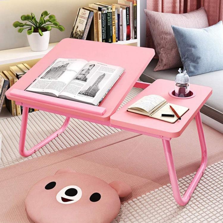 Столик пластиковий складаний для ноутбука, планшета (Рожевий)