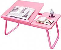 Столик пластиковий складаний для ноутбука, планшета (Рожевий), фото 3
