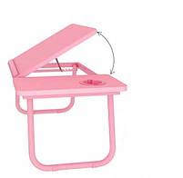 Столик пластиковий складаний для ноутбука, планшета (Рожевий), фото 4