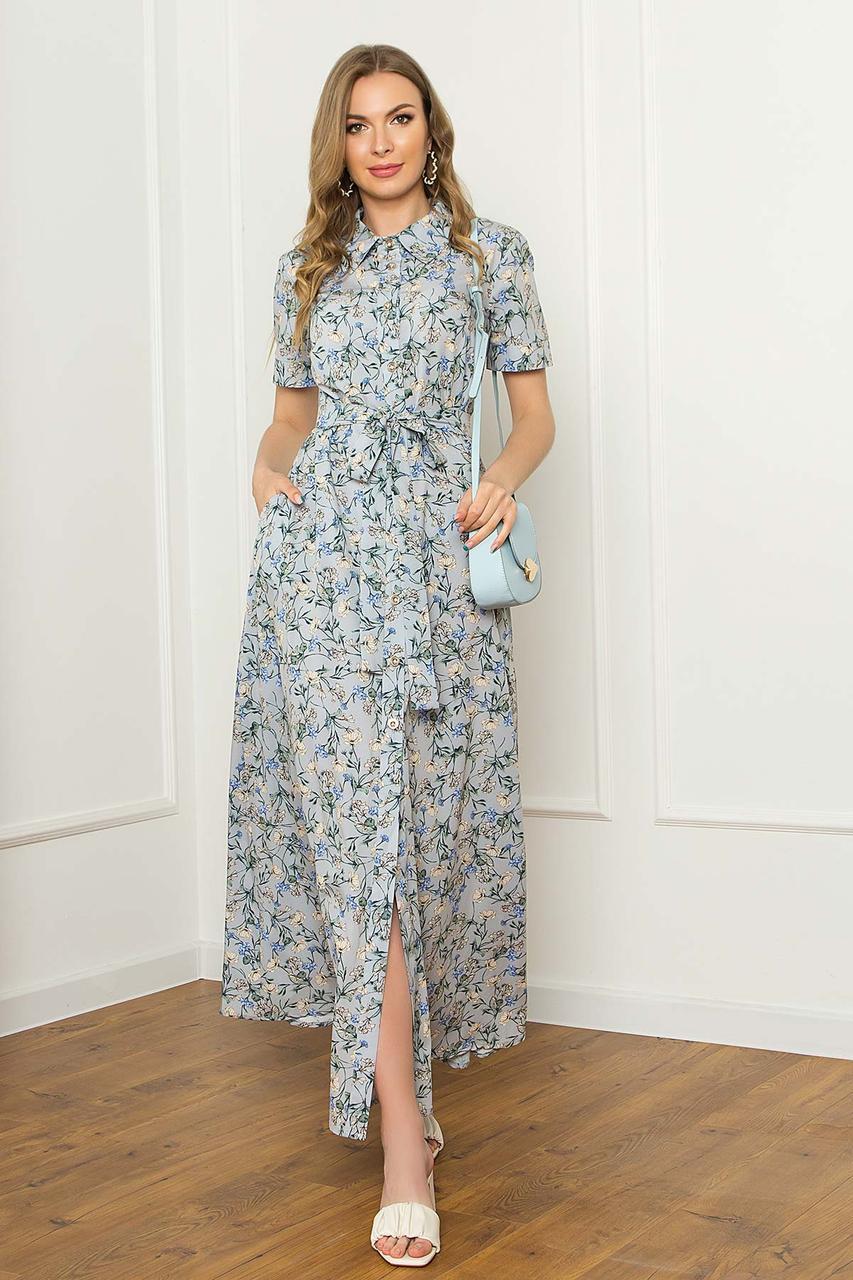 Платье-рубашка из софта летнее, платье-рубашка макси с коротким рукавом, серое с цветочным принтом