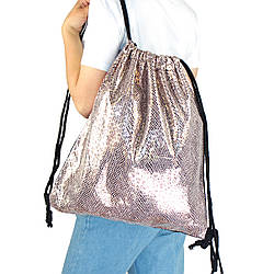 Рюкзак мешок на затяжках из текстиля для сменной обуви Леопард блестящий