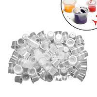 100х Колпачки капсы для тату чернил пигментов L 13мм, пластиковые 2012-05878
