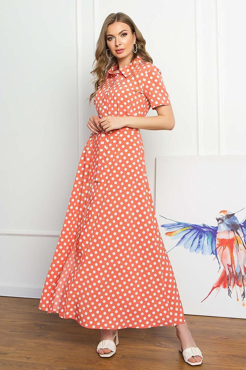 Платье-рубашка из софта летнее, платье-рубашка макси с коротким рукавом, терракотовое в горошек